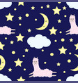 seamless pattern with llama in the night sky vector image