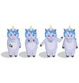 set cartoon unicorns in full growth vector image vector image