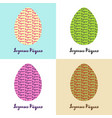 set of 4 hand drawn eggs with french easter vector image vector image