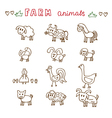 Set of hand drawn farm animals Sheep cow horse pig vector image