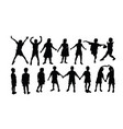 silhouette children activities playing and le vector image