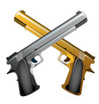 silver and gold souvenir crossed handguns isolated vector image
