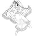 sketch of dancing indian woman vector image vector image