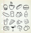 sketchy food icons vector image vector image