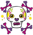 skull and crossbones with flowers vector image