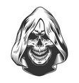 skull in the hood vector image vector image
