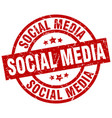 social media round red grunge stamp vector image vector image