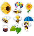 sticker design for bees and beehive vector image