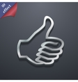 Thumb up icon symbol 3D style Trendy modern design vector image
