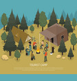 tourist camp isometric vector image vector image