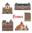 travel landmarks and tourist sights of france vector image vector image