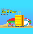 travel packing suitcase for beach vacation poster vector image vector image