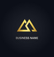 triangle double line gold logo vector image vector image