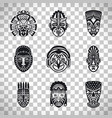 tribal mask icons on transparent background vector image vector image