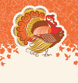 turkey bird for thanksgiving day holiday card vector image vector image