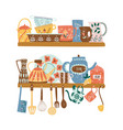 two shelves with ceramic tableware and hanging vector image vector image