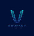 v letter logo science technology connected dots vector image vector image