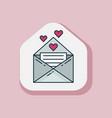 valentine day love letter line art sticker vector image