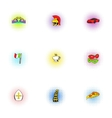 Venice icons set pop-art style vector image
