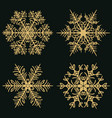 winter golden snowflakes on a dark background vector image