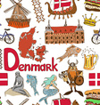 Sketch Denmark seamless pattern vector image