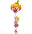 A tall girl holding a clown balloon vector image vector image