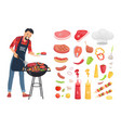 bbq serving man and icons set vector image