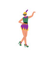 beautiful woman in bright traditional mardi gras vector image vector image