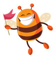 bee with flag is smiling on white background vector image vector image