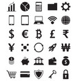 black fintech flat icons on white background vector image