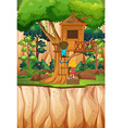 Boy and girl playing at the treehouse vector image vector image