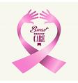 Breast cancer awareness ribbon text human hands vector image