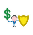 businessman character holding dollar and guard vector image