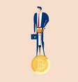 businessman holds jackhammer mining bitcoins vector image vector image