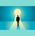 businessman walking into keyhole vector image