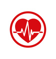 Cardiology icon with heart and cardiogram