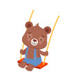 cheerful bear character with bucket ears swinging vector image