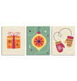 christmas decorative cards set in retro style vector image vector image