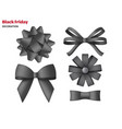 collection decorative black bows gift box vector image vector image