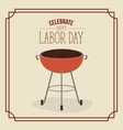color poster frame with barbecue grill of vector image vector image