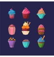 Colorful Cupcakes Set vector image vector image