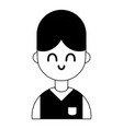 contour nice boy with hairstyle and uniform vector image vector image