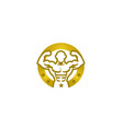 creative bodybuilder golden circle stars logo vector image
