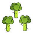 cute broccoli characters set vector image vector image