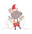 cute mouse in christmas santa claus costume vector image vector image