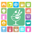 fast food and dessert icon set vector image