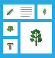 flat icon nature set of baobab jungle forest and vector image vector image