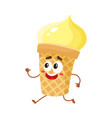 funny smiling yellow ice cream character in wafer vector image vector image