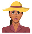 girl wearing a yellow hat on white background vector image vector image