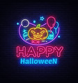 happy halloween neon sign design template vector image vector image